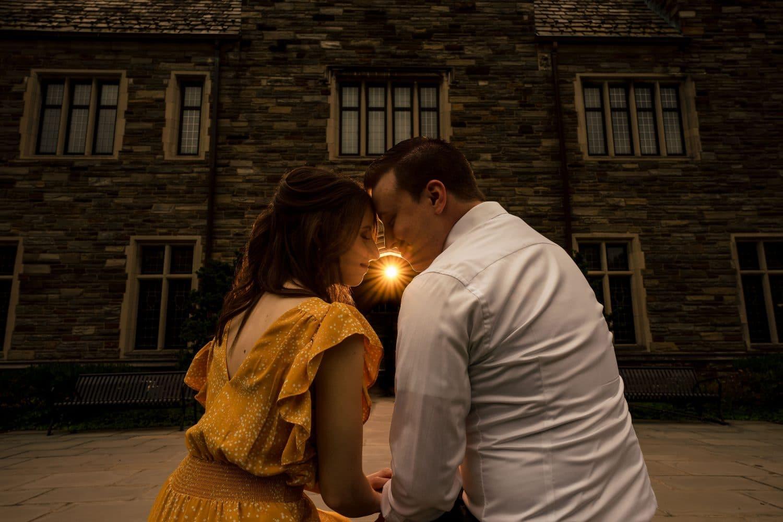 Night embraces at SJU in Philly Saint Joseph's University Engagement Shot By John Ryan