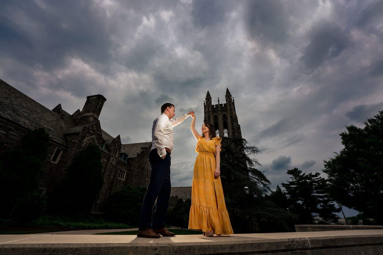 Dancing under the dark skies on PA Campus Saint Joseph's University Engagement Shot By John Ryan