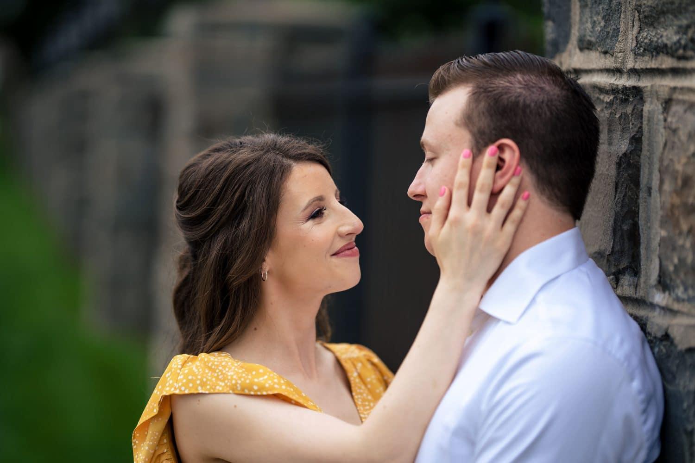 Melissa and George at SJU IN Philly Saint Joseph's University Engagement Shot By John Ryan