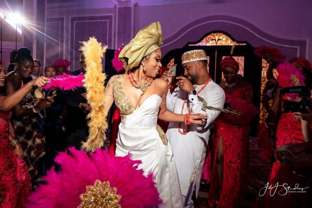 wedding reception dancing traditional Nigerian clothing