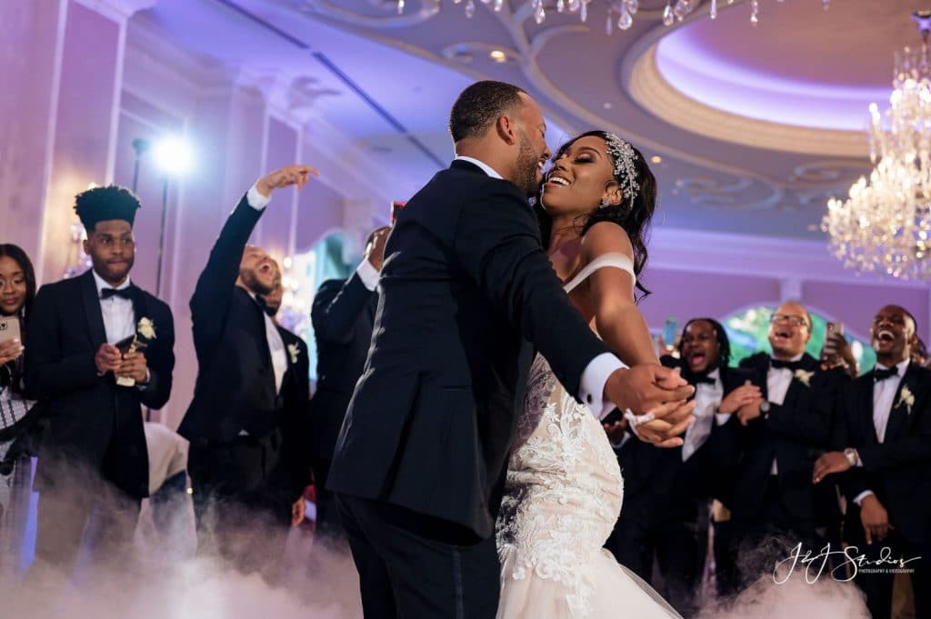 groom bride dancing wedding reception