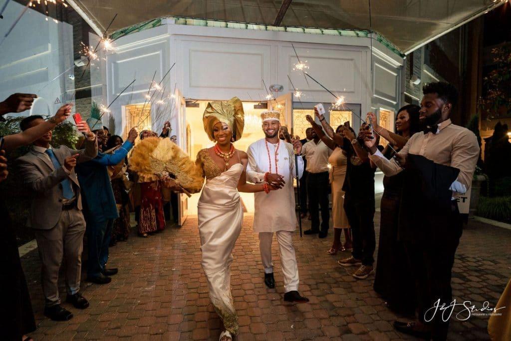bride groom sparkler wedding exit