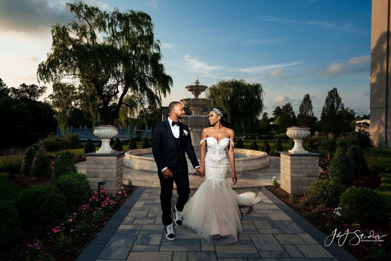 bride and groom formal portrait sunset