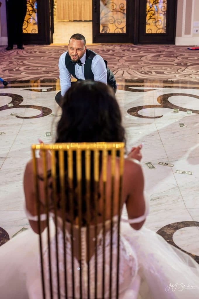 groom crawling toward bride