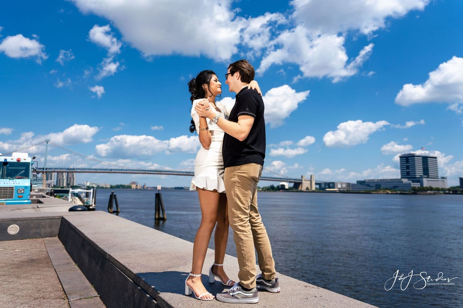 Couple at the Delaware River Waterfront by J&J Studios