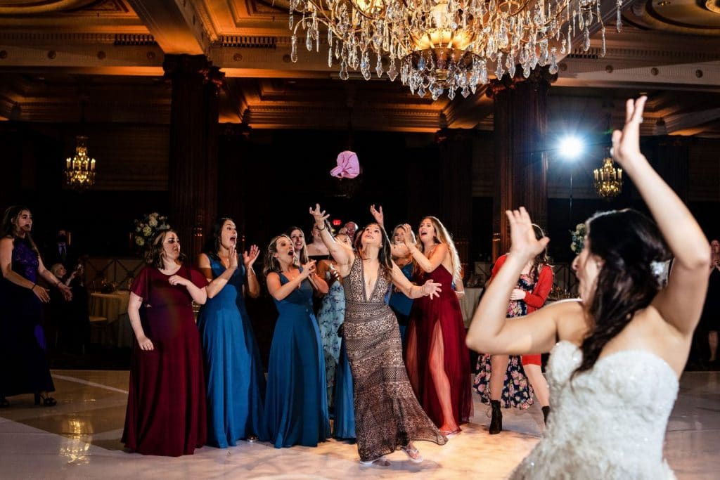 wedding bouquet toss crystal tea room philadelphia