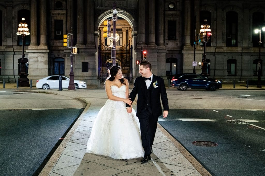 philadelphia pa city hall wedding photo night