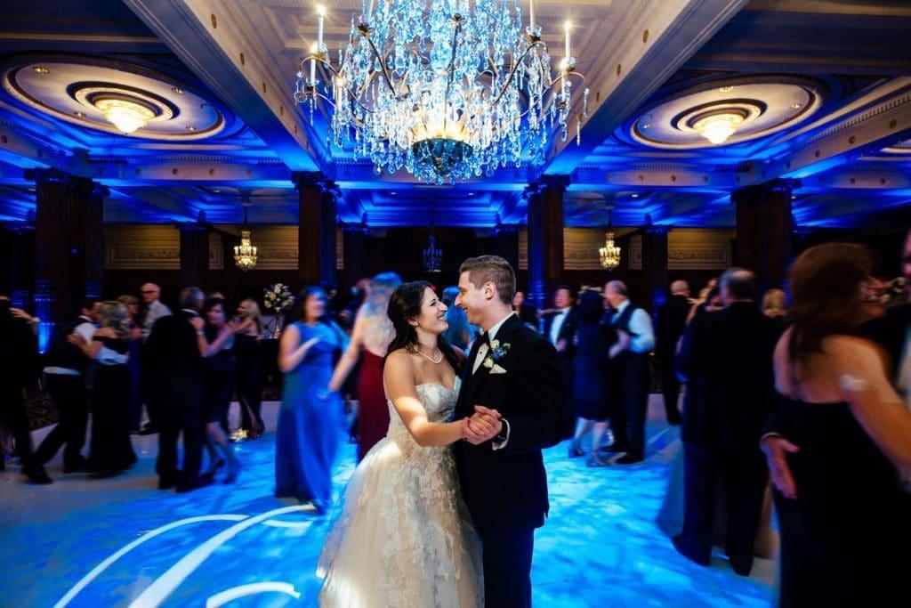 bride and groom dancing at their crystal tea room wedding