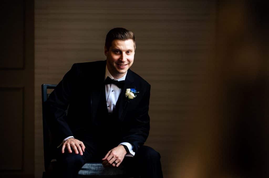 smiling groom portrait wedding day philadelphia pa