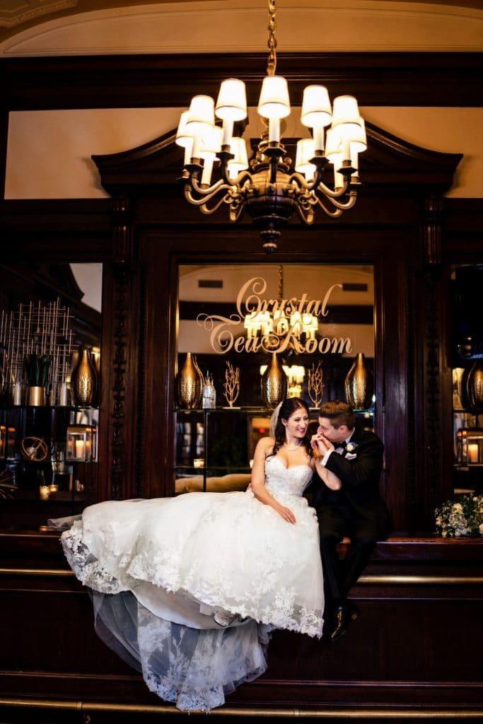 philadelphia pa crystal tea room wedding photos bar