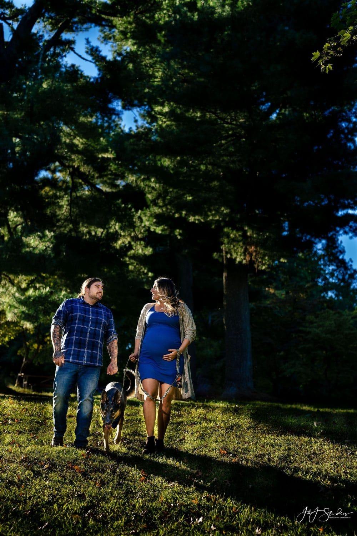 Couple in blue walking shot by John Ryan