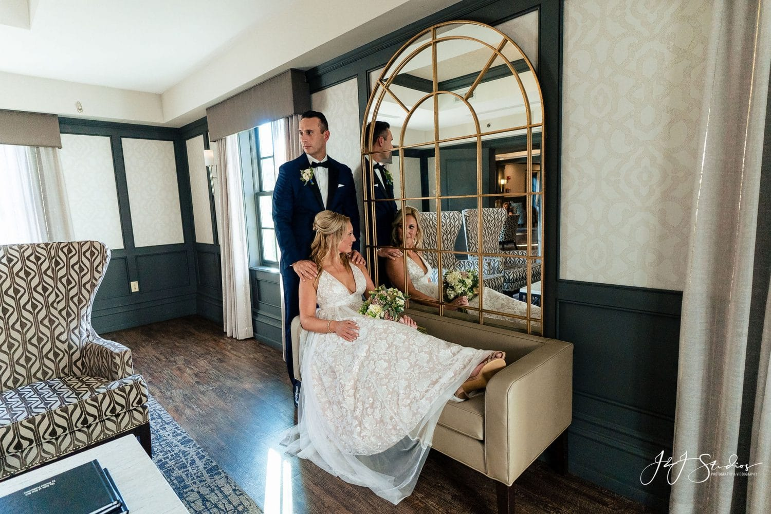 Bride and Groom inside the hotel shot by John Ryan